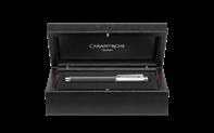 Penna stilografica VARIUS CARBON placcata argento rodiato