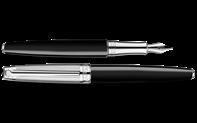 Silver-Plated, Rhodium-Coated LÉMAN BICOLOR Black Fountain Pen