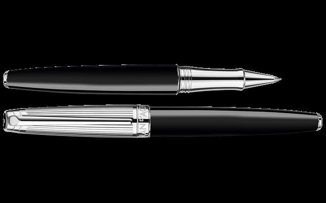 Silver-Plated, Rhodium-Coated LÉMAN BICOLOR Black Roller Pen
