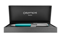 Silver-Plated, Rhodium-Coated LÉMAN BICOLOR Turquoise Ballpoint Pen