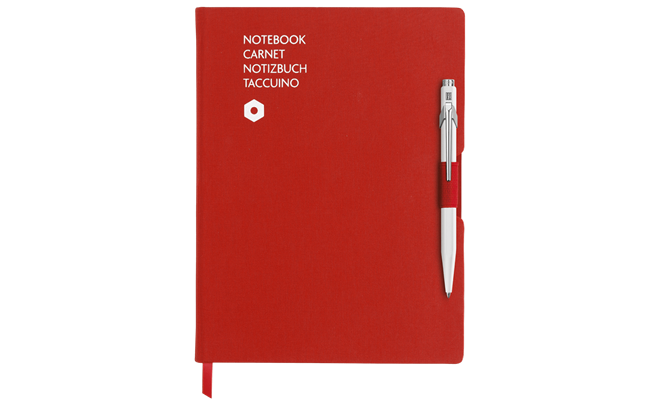 Ballpoint Pen 849 White & Notebook Office A5 Red