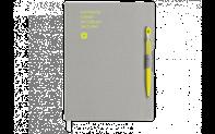 Ballpoint Pen 849 Yellow & Notebook Office A5 Grey