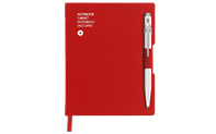 Ballpoint Pen 849 White & Notebook Office A6 Red
