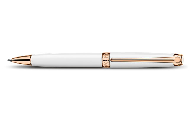 Rose Gold-Plated White LÉMAN Ballpoint Pen